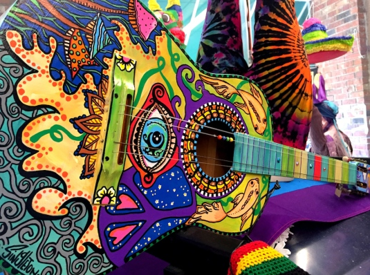colorful, guitar, art, paint, beautiful